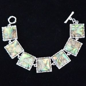 Vintage Estate Abalone Acrylic Silvertone Bracelet